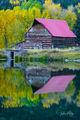 Autumn, fall, fall landscape, autumn landscape, barn, reflection, Colorado, Colorado barns, red roof barns
