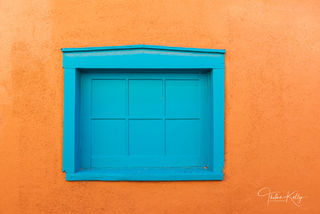 New Mexico, architecture, vibrant colors, blue window, orange wall