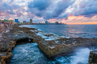 El Malecón, seawall, popular, Havana, Cuba