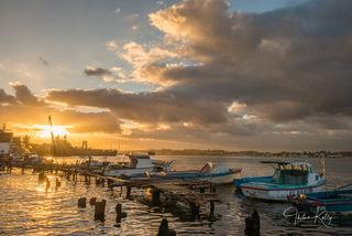 Havana, Cuba, fishing boats, sunrise