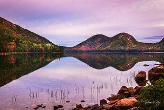 sunrise, fall color, Bar Harbor, Maine, Acadia National Park, Jordan Pond, tarn, pond