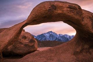 Mobius Arch, Alabama Hills, Sierra Nevada, Mt. Whitney, California, sunset