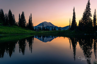 Mt. Rainer National Park, Washington state, pine trees, sunset, setting sun, lake reflection