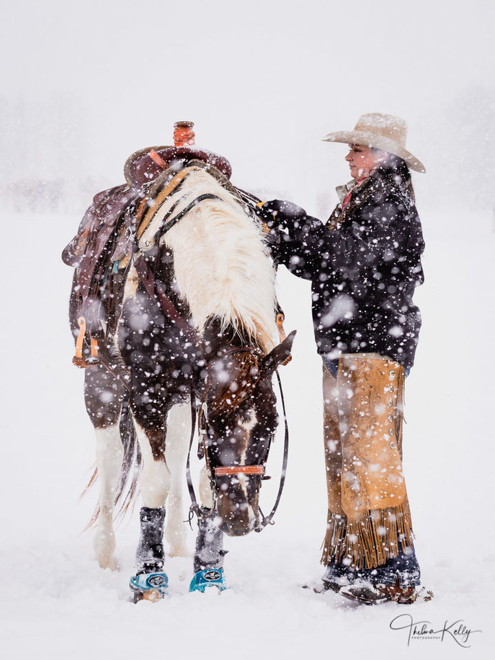 Cowgirl In The Snow print