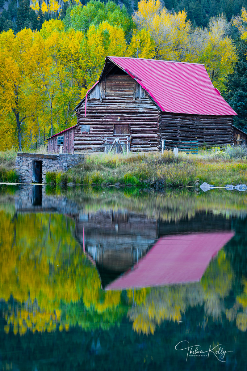 Autumn, fall, fall landscape, autumn landscape, barn, reflection, Colorado, Colorado barns, red roof barns , photo