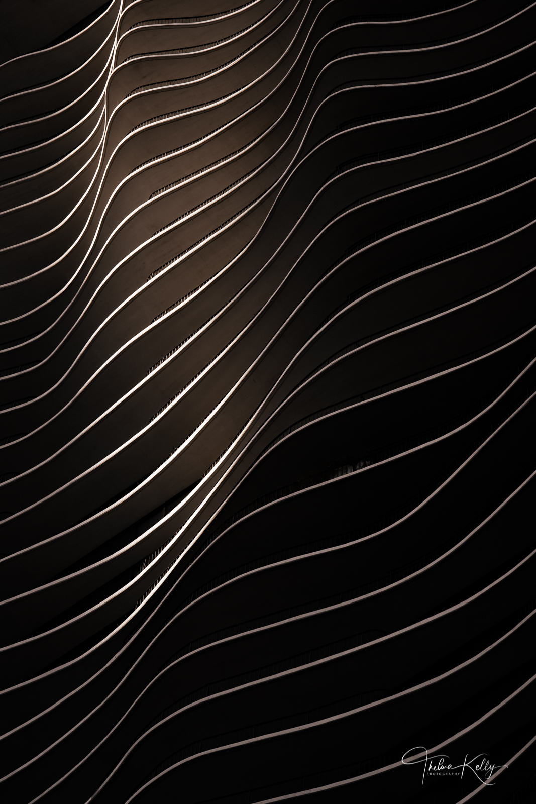 A Limited Edition of 50 This abstract image showcases 82 stories of sensual lines, curves, and waves... the Aqua Tower, of course...