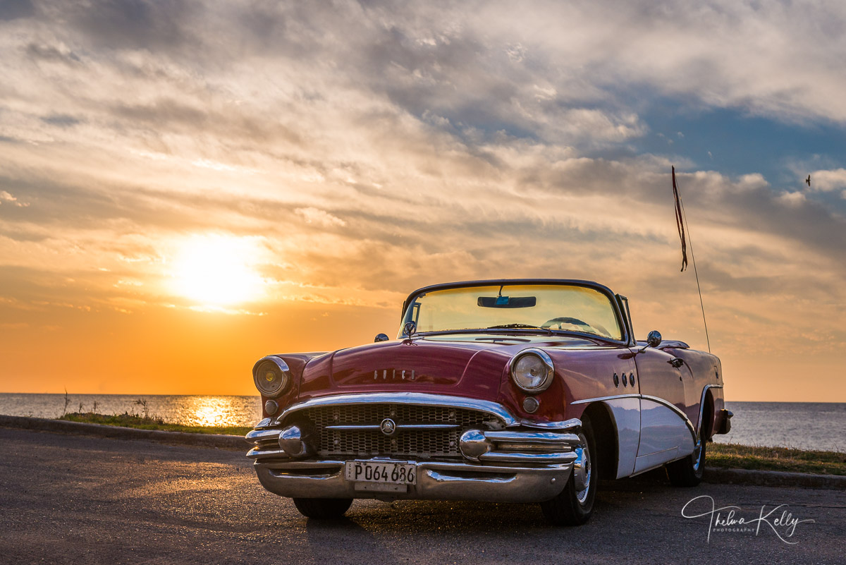 Classic car, Classic Buick, Havana, Cuba, sunset, photo
