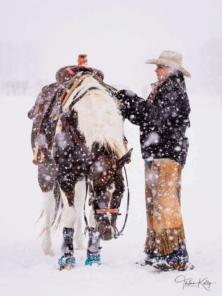 cowgirl, horse, snow, photo