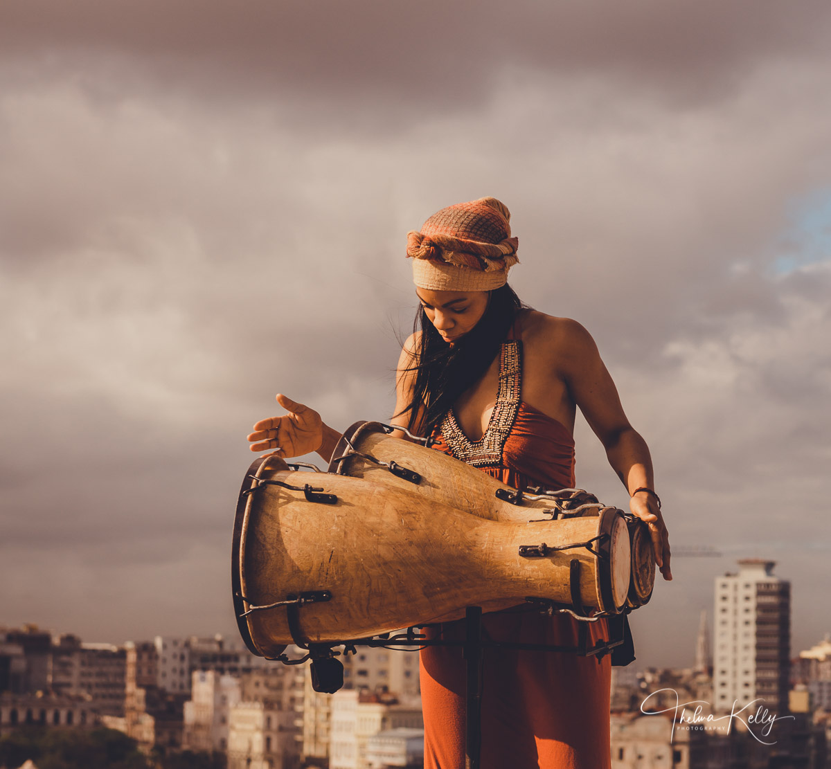Havana, Cuba, Malecón, musician, drummer, bongo drum, music video, photo