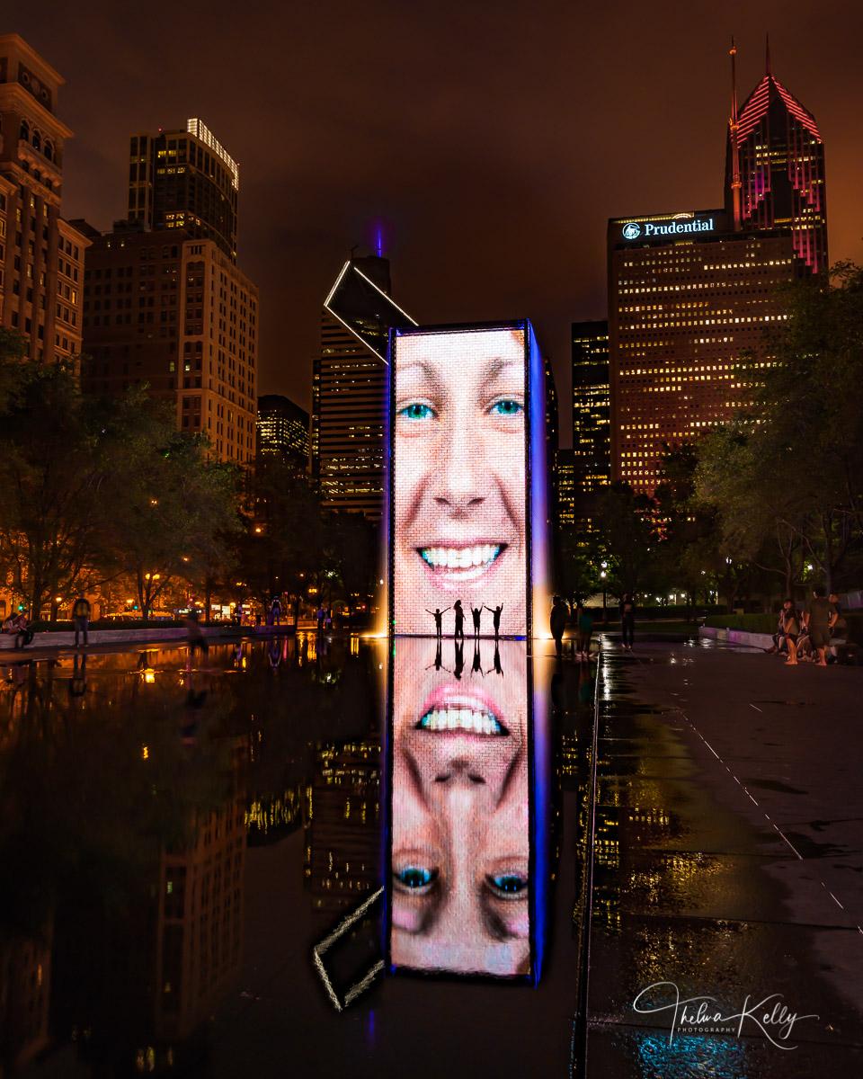 Chicago, Crown Fountain, Millennium Park, interactive art, kids, fun, photo
