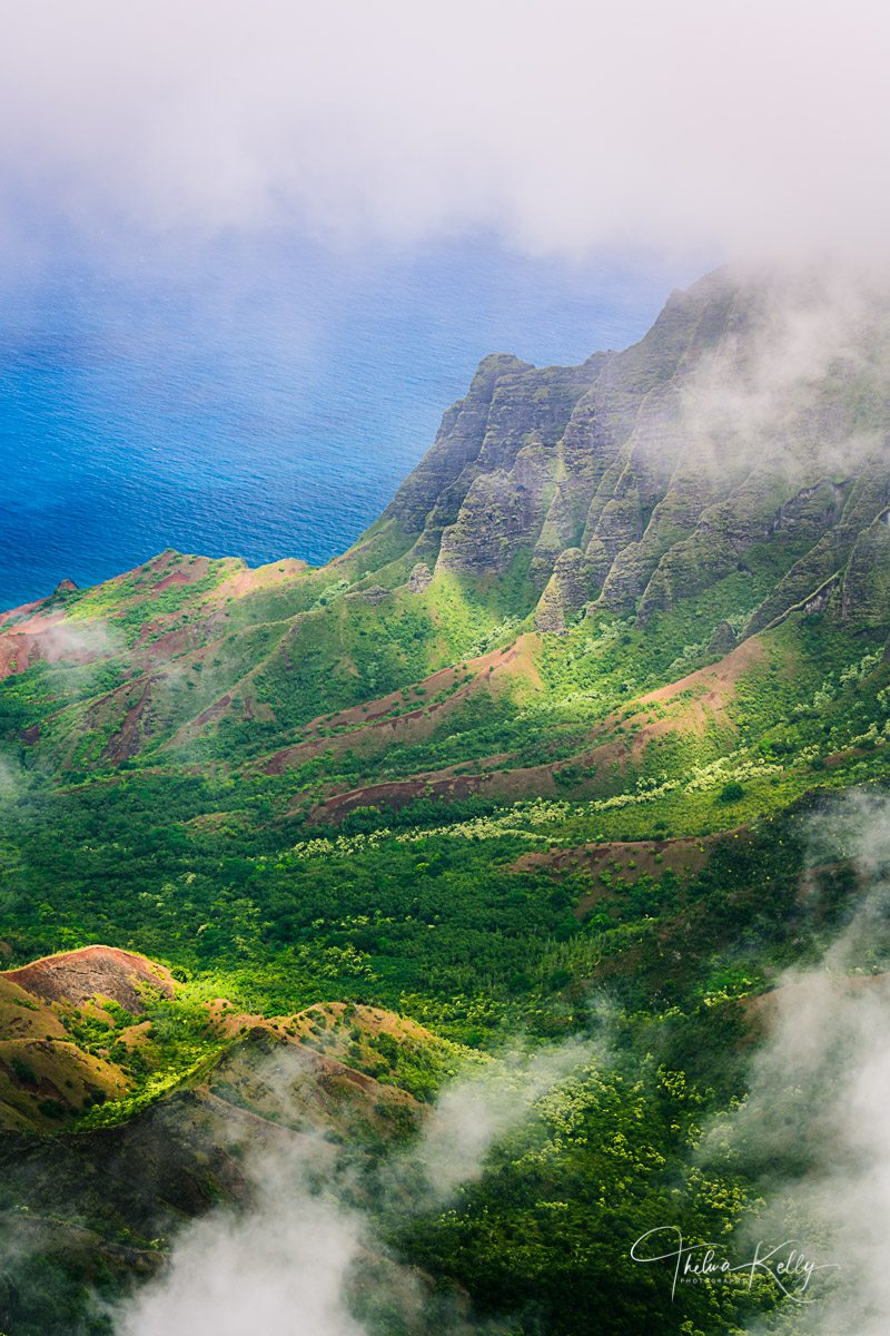 Hawaii, Kuaii, Waimea Canyon State Park, ocean view, mountains, mist, misty landscapes, travel, hawaiian vacation, landscapes, landscape photography, photo