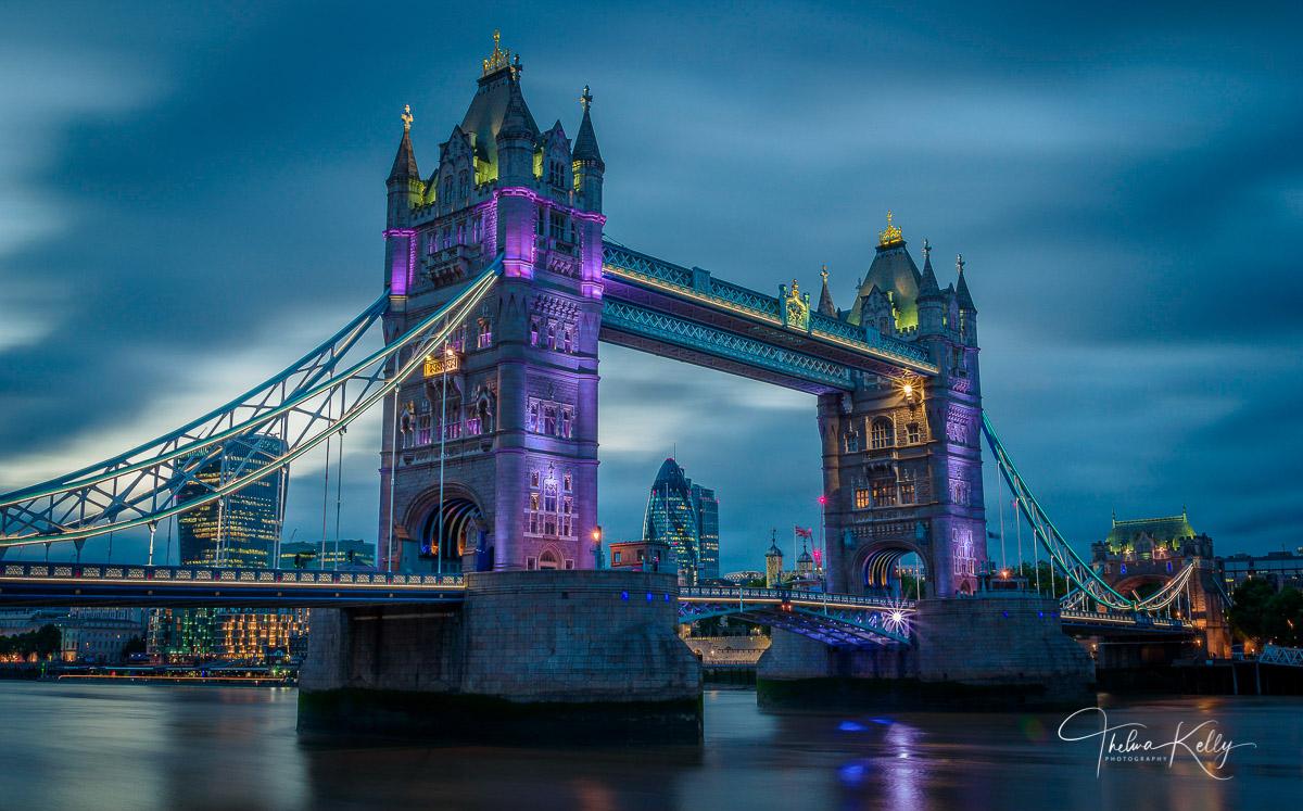 London, Tower Bridge, River Thames, long exposure, blue hour, photo