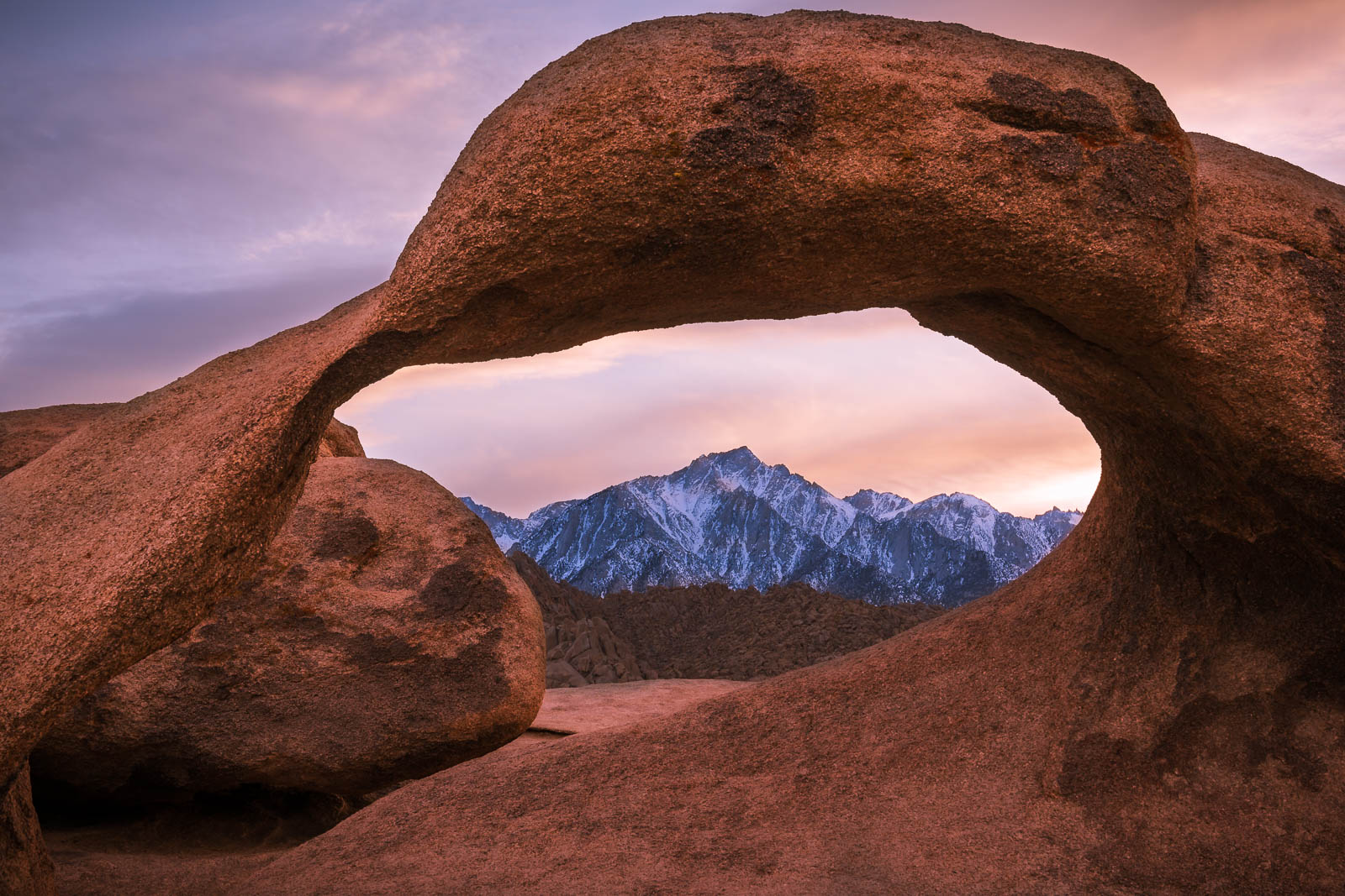 A Limited Edition of 50 Mobius Arch in the Alabama Hills of of the Sierra Nevada in California perfectly frames Mt. Whitney