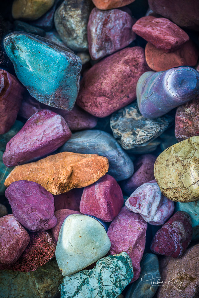 colorful rocks, Lake MacDonald, Glacier National Park, shoreline, abstract, photo