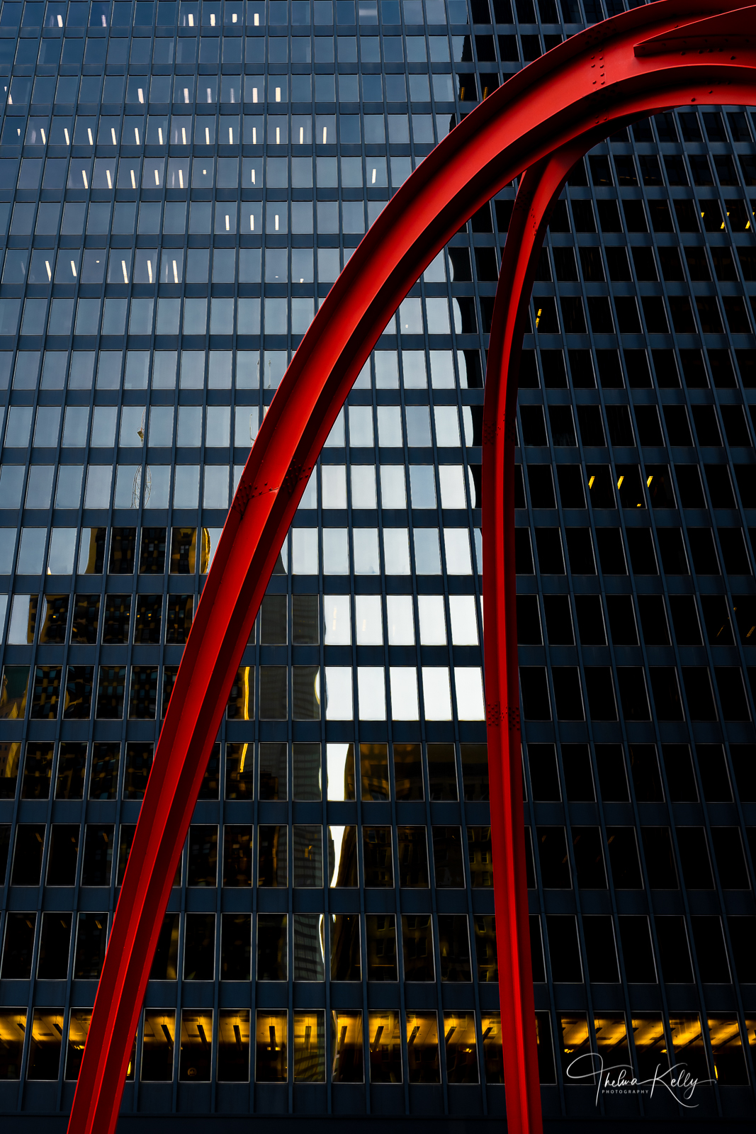 """In the middle of Federal Plaza in downtown Chicago, stands Alexander Calder's """"Flamingo"""" abstract steel sculpture. Its strikingly..."""